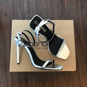 Boohoo Metallic silver square toe heels